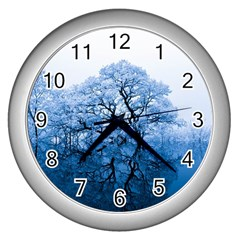 Nature Inspiration Trees Blue Wall Clocks (silver)