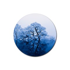 Nature Inspiration Trees Blue Rubber Coaster (round)