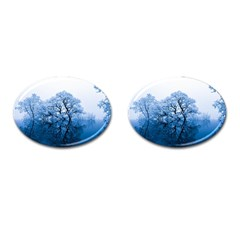Nature Inspiration Trees Blue Cufflinks (oval)