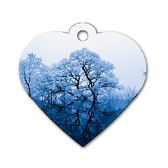 Nature Inspiration Trees Blue Dog Tag Heart (one Side)