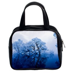 Nature Inspiration Trees Blue Classic Handbags (2 Sides) by Nexatart