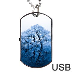 Nature Inspiration Trees Blue Dog Tag Usb Flash (two Sides)
