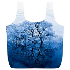 Nature Inspiration Trees Blue Full Print Recycle Bags (l)