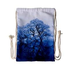 Nature Inspiration Trees Blue Drawstring Bag (small)