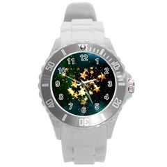 Heart Love Universe Space All Sky Round Plastic Sport Watch (l)