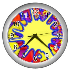 Embroidery Dab Color Spray Wall Clocks (silver)