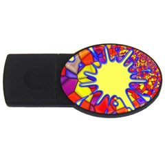 Embroidery Dab Color Spray Usb Flash Drive Oval (4 Gb)