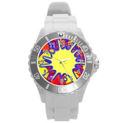 Embroidery Dab Color Spray Round Plastic Sport Watch (l)