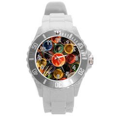 Color Box Colorful Art Artwork Round Plastic Sport Watch (l)