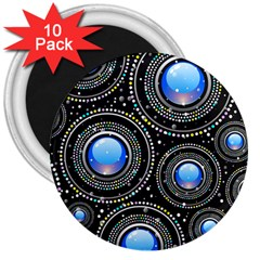 Background Abstract Glossy Blue 3  Magnets (10 Pack)