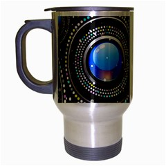 Background Abstract Glossy Blue Travel Mug (silver Gray)