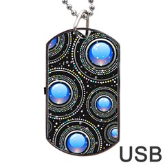 Background Abstract Glossy Blue Dog Tag Usb Flash (one Side)