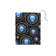 Background Abstract Glossy Blue Drawstring Pouches (small)