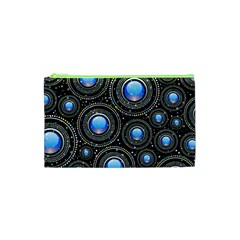 Background Abstract Glossy Blue Cosmetic Bag (xs)