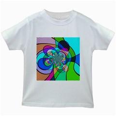 Retro Wave Background Pattern Kids White T Shirts