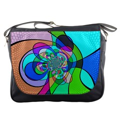 Retro Wave Background Pattern Messenger Bags
