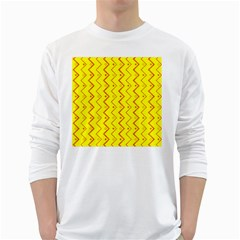 Yellow Background Abstract White Long Sleeve T Shirts