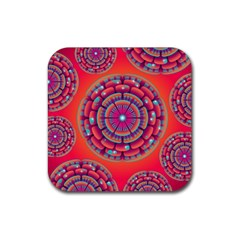 Floral Background Texture Pink Rubber Square Coaster (4 Pack)