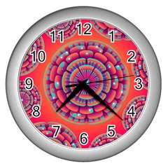 Floral Background Texture Pink Wall Clocks (silver)  by Nexatart