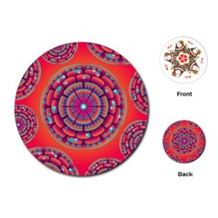 Floral Background Texture Pink Playing Cards (round)