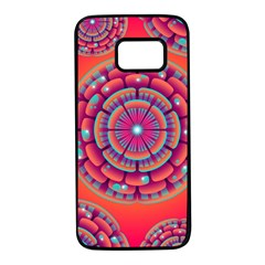 Floral Background Texture Pink Samsung Galaxy S7 Black Seamless Case