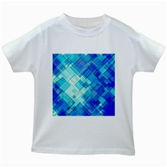 Abstract Squares Arrangement Kids White T Shirts