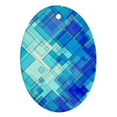 Abstract Squares Arrangement Oval Ornament (two Sides)