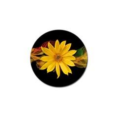 Sun Flower Blossom Bloom Particles Golf Ball Marker