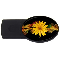 Sun Flower Blossom Bloom Particles Usb Flash Drive Oval (2 Gb)