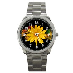 Sun Flower Blossom Bloom Particles Sport Metal Watch