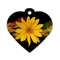 Sun Flower Blossom Bloom Particles Dog Tag Heart (two Sides) by Nexatart