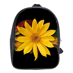 Sun Flower Blossom Bloom Particles School Bag (large)
