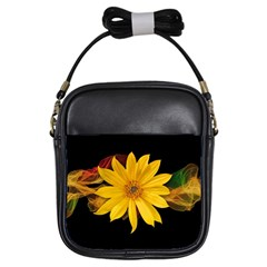Sun Flower Blossom Bloom Particles Girls Sling Bags