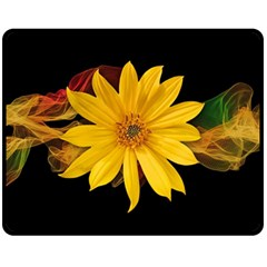 Sun Flower Blossom Bloom Particles Fleece Blanket (medium)
