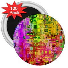 Color Abstract Artifact Pixel 3  Magnets (100 Pack)
