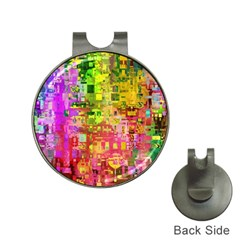 Color Abstract Artifact Pixel Hat Clips With Golf Markers