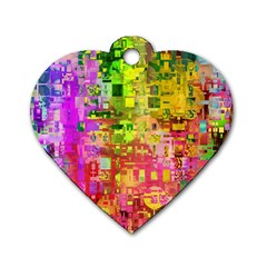 Color Abstract Artifact Pixel Dog Tag Heart (two Sides)