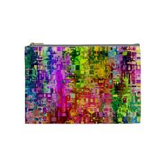 Color Abstract Artifact Pixel Cosmetic Bag (medium)