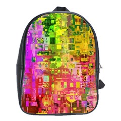 Color Abstract Artifact Pixel School Bag (large)