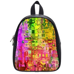 Color Abstract Artifact Pixel School Bag (small)