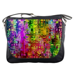 Color Abstract Artifact Pixel Messenger Bags