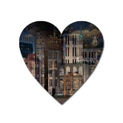 Architecture City Home Window Heart Magnet