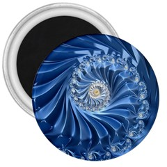 Blue Fractal Abstract Spiral 3  Magnets