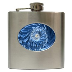 Blue Fractal Abstract Spiral Hip Flask (6 Oz)