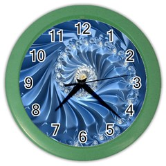 Blue Fractal Abstract Spiral Color Wall Clocks
