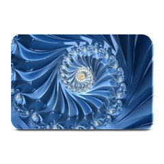 Blue Fractal Abstract Spiral Plate Mats