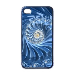 Blue Fractal Abstract Spiral Apple Iphone 4 Case (black)