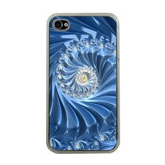 Blue Fractal Abstract Spiral Apple Iphone 4 Case (clear)