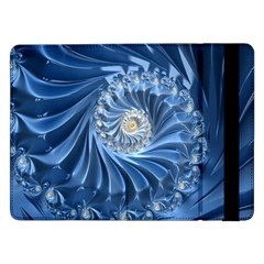 Blue Fractal Abstract Spiral Samsung Galaxy Tab Pro 12 2  Flip Case by Nexatart