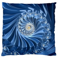Blue Fractal Abstract Spiral Large Flano Cushion Case (one Side)